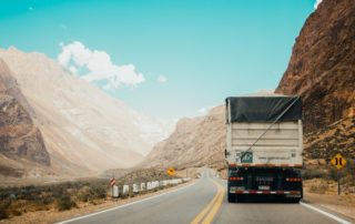 Highway with a truck up front